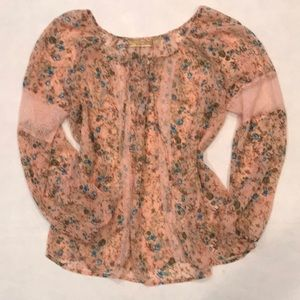Princess Vera Wang Peach & Lace Floral Top, Sz L